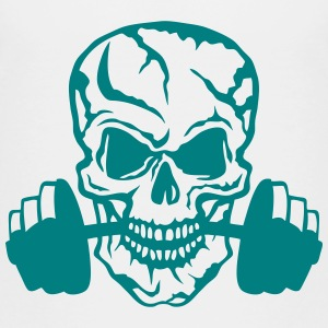 skull bodybuilding dead head dumbbell Shirts - Kids' Premium T-Shirt