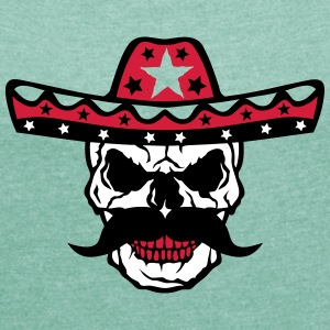 Skull hat Mexican 58 T-Shirts - Women's T-shirt with rolled up sleeves