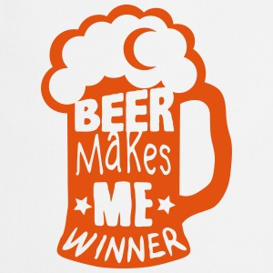 beer makes me winner quote alcohol humor  Aprons - Cooking Apron