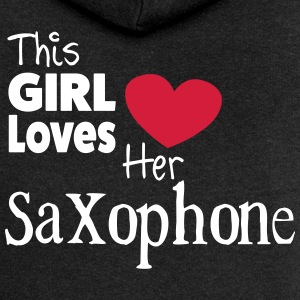 This Girl Loves Her Saxophone Pullover & Hoodies - Frauen Premium Kapuzenjacke