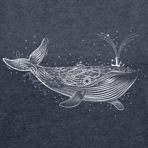 white whale in the ocean T-Shirts - Women's T-shirt with rolled up sleeves