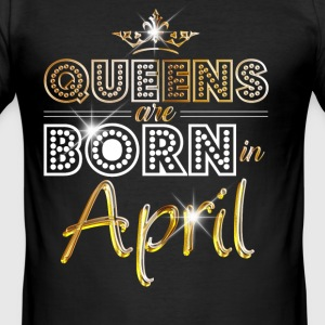 April - Queen - Birthday - 2 T-shirts - Herre Slim Fit T-Shirt