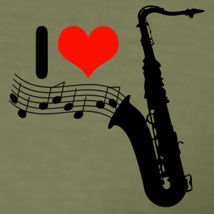 I love Jazz / Saxophon T-Shirts - Männer Slim Fit T-Shirt