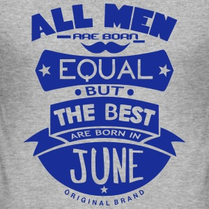 june men equal best born month logo T-Shirts - Men's Slim Fit T-Shirt