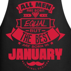 january men equal best born month logo  Aprons - Cooking Apron