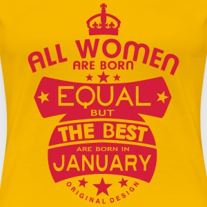 january women equal best born month logo T-Shirts - Women's Premium T-Shirt