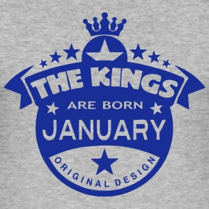 junuary kings born birth month crown T-Shirts - Men's Slim Fit T-Shirt