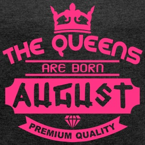 august born queens crown logo T-Shirts - Women's T-shirt with rolled up sleeves