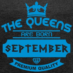 september born queens crown logo T-Shirts - Women's T-shirt with rolled up sleeves