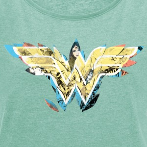 DC Comics Wonder Woman Filled Logo Drawings - Dame T-shirt med rulleærmer