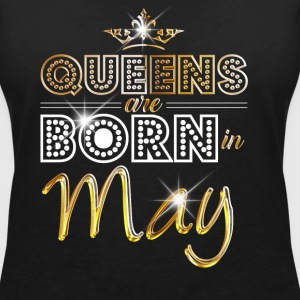 May - Queen - Birthday - 2 T-shirts - Vrouwen T-shirt met V-hals