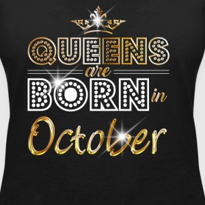 October - Queen - Birthday - 2 T-shirts - Vrouwen T-shirt met V-hals
