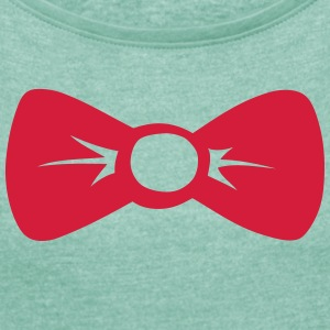 bow tie 301 T-Shirts - Women's T-shirt with rolled up sleeves