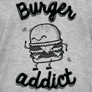 Washed grey Burger Addict T-Shirts - Männer Vintage T-Shirt
