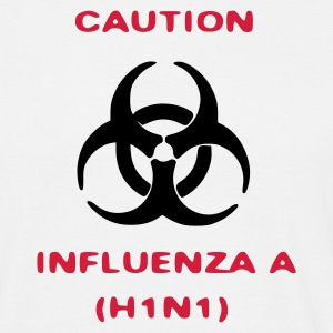 Wit influenza_caution T-shirts - Mannen T-shirt