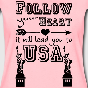 Heart leads you to USA T-Shirts - Frauen Premium T-Shirt