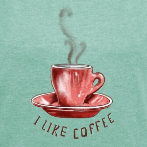 I like coffee T-Shirts - Frauen T-Shirt mit gerollten Ärmeln