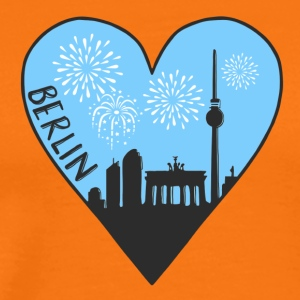 Berlin by night, heart, city, I love, Silhouette - Men's Premium T-Shirt