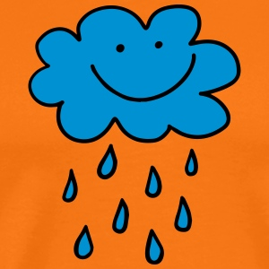 Funny cloud with raindrops, weather, spring, water - Men's Premium T-Shirt