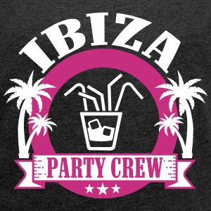 Ibiza Party Crew T-shirts - Dame T-shirt med rulleærmer