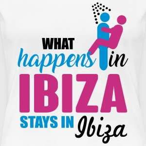 Ibiza what happens there T-shirts - Dame premium T-shirt