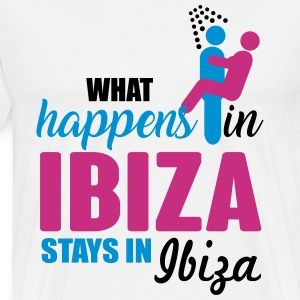 Ibiza what happens there T-shirts - Mannen Premium T-shirt