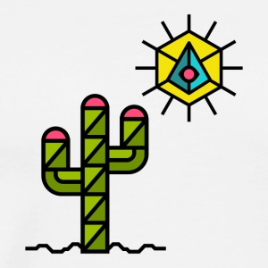 cactus with sun, summer, Mexico, triangle style - Men's Premium T-Shirt