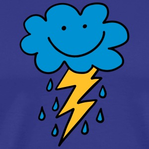 Funny cloud with flash, raindrops, comic, emoji - Men's Premium T-Shirt