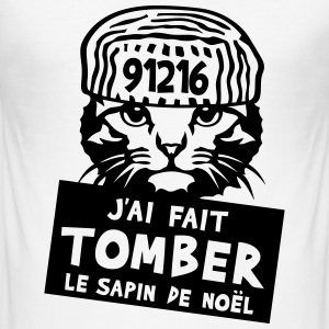 chat tomber sapin noel citation prisonni Tee shirts - Tee shirt près du corps Homme