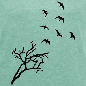 Tree and Birds, Freedom Camisetas - Camiseta con manga enrollada mujer