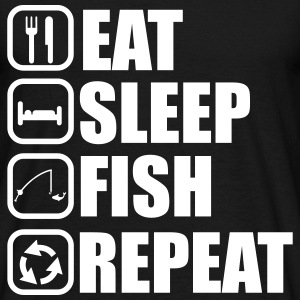 Eat,sleep,fish,repeat, tee shirt pêcheur, pêche - T-shirt Homme
