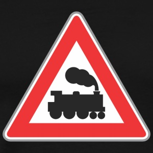 Road sign train with smoke - Men's Premium T-Shirt