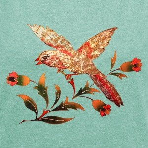 Bird with flowers, summer, spring, illustration,  T-Shirts - Women's T-shirt with rolled up sleeves