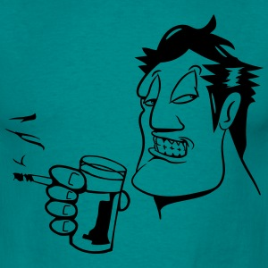 Head hand drink drinking cigarette fry party glass T-Shirts - Men's T-Shirt