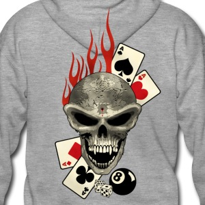 Skull Poker Flaming Sweat-shirts - Veste à capuche Premium Homme