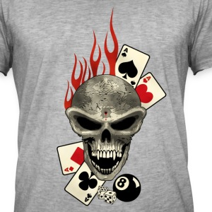 Skull Poker Flaming Tee shirts - T-shirt vintage Homme