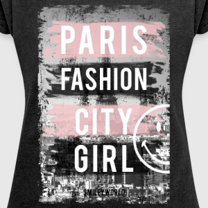 SmileyWorld Paris Fashion Girl - Camiseta con manga enrollada mujer