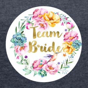 team_bride_bouquet T-Shirts - Frauen T-Shirt mit gerollten Ärmeln