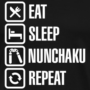Eat Sleep Nunchaku Repeat T-shirts - Premium-T-shirt herr
