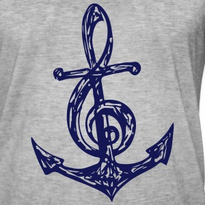 Anchor, music note, bass, clef, musician, sailing, T-Shirts - Men's Vintage T-Shirt