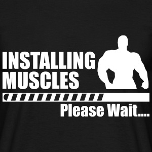 Installing muscles, funny gym, gym, funny - Men's T-Shirt