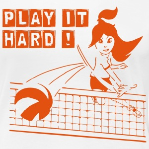 Damen-T-Shirt VOLLEYBALL PLAY IT HARD, weiß-orang - Frauen Premium T-Shirt