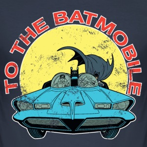 DC Comics Batman Robin Batmobile Vintage - Slim Fit T-skjorte for menn