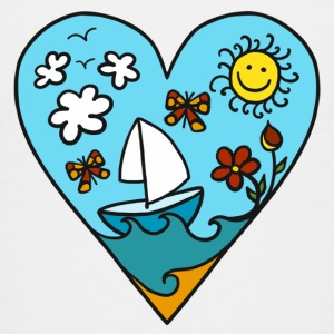 Sailboat heart, sun, summer, waves, holiday Shirts - Teenage Premium T-Shirt