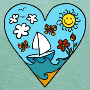 Sailboat heart, sun, summer, waves, holiday T-Shirts - Women's T-shirt with rolled up sleeves