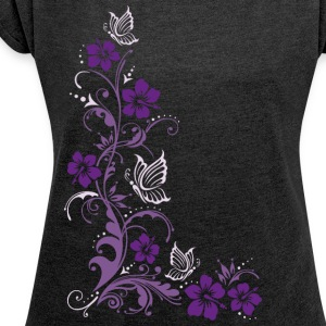 Hibiskus mit Schmetterlingen, hibiscus T-Shirts - Women's T-shirt with rolled up sleeves
