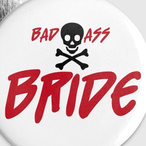 Hvit Bad Ass Bride Buttons / merkelapper - Stor pin 56 mm