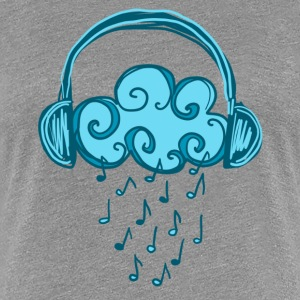 Headphones, Cloud, Music Notes, Rain, Clef, Party Koszulki - Koszulka damska Premium