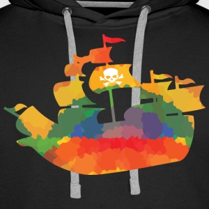 Colored pirate ship sweaters & hoodies - Men's Premium Hoodie