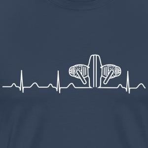 Triumph Bonneville 800cc  Boxer-heartbeat-t-shirt-blau-weiss-camiseta-premium-hombre